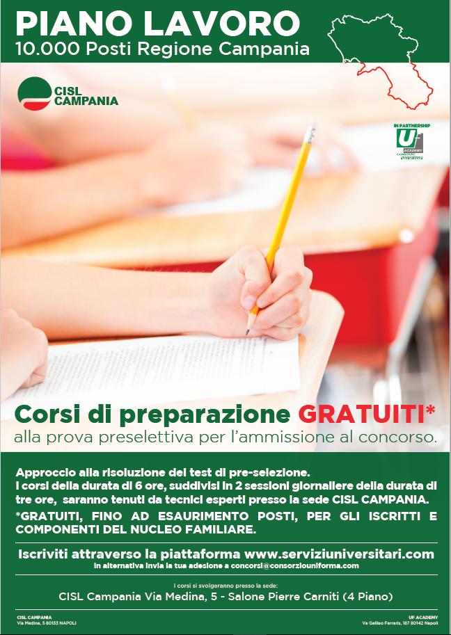 Calendario Regione Campania.Calendario Corsi Di Preparazione Gratuiti Presso La Cisl